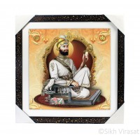 Shri Guru Gobind Singh Ji Golden Outlined Photo, Wooden Frame with Attractive pattern, Size – 16x16