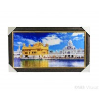 Golden Temple or Darbar Sahib or Harmandir Sahib Colored Photo, Wooden Frame with attractive pattern, Size – 16x30