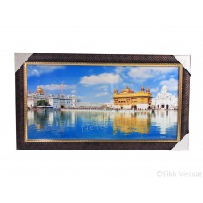 Golden Temple or Darbar Sahib or Harmandir Sahib in day light Colored Photo, Wooden Frame with attractive pattern, Size – 16x30
