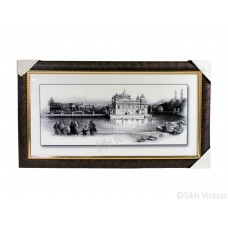Golden Temple or Darbar Sahib or Harmandir Sahib in 1833 Black & White Sketch Photo, Wooden Frame with attractive pattern, Size – 16x30