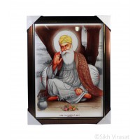 Shri Guru Nanak Dev Ji Colored Photo, Wooden Frame with attractive golden lining, Size – 17x23
