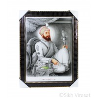 Shri Guru Hargobind Ji Colored Photo, Wooden Frame with lined pattern and golden borders, Size – 17x23