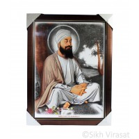 Shri Guru Teg Bahadar Ji Colored Photo with silver outlining, Wooden Frame with golden lining, Size – 17x23