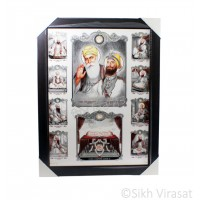 Ten Gurus or Das Guru Sahiban & Shri Guru Granth Sahib Ji Photo, Wooden Frame with matte finish, Size – 17x23