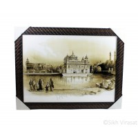 Golden Temple or Harmandir Sahib or Darbar Sahib in 1833 Sepia Sketch Photo, Wooden Frame with attractive pattern, Size – 17x23