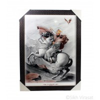 Shri Guru Gobind Singh Ji Colored Photo, Wooden Frame with attractive pattern, Size – 17x23