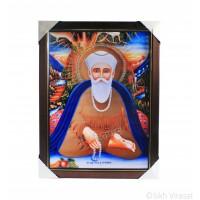 Shri Guru Nanak Dev Ji Nanaksar Colored Photo with Pehli Pauri da Path, Wooden Frame with matte finish and golden lining, Size – 17x23