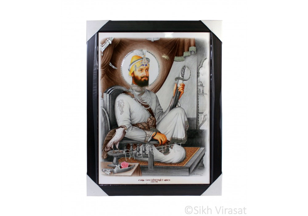 Shri Guru Gobind Singh Ji Colored Photo, Wooden Frame with attractive matte finish, Size – 17x23