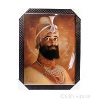 Shri Guru Gobind Singh Ji Sepia Photo, Wooden Frame with attractive pattern, Size – 17x23