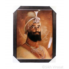 Shri Guru Gobind Singh Ji Sepia Photo, Wooden Frame with attractive pattern, Size – 17x23