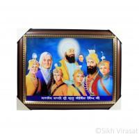 Dashmesh Guru Family Photo, Wooden Frame with Golden Lining, Size – 17x23