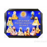 Ten Gurus or Das Guru Sahiban Colored Blue Photo with a quote, Wooden Frame with smooth matte finish, Size – 17x23