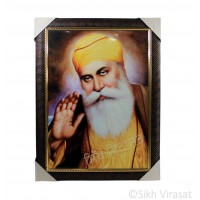 Shri Guru Nanak Dev Ji Colored Photo, Wooden Frame with Pattern & Golden Lining, Size – 17x23