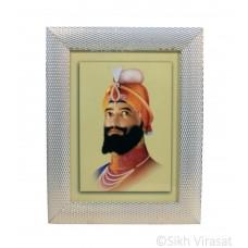 Shri Guru Gobind Singh Ji, Colored Photo, Wooden White & Gold Designer Frame with Transparent Fiber, Size 6x8