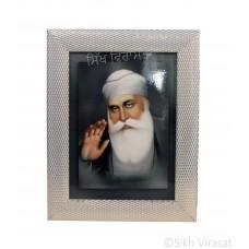 Shri Guru Nanak Dev Ji, Pencil Colored Photo, Wooden White & Gold Designer Frame with Transparent Fiber, Size 6x8