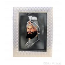 Shri Guru Gobind Singh Ji, Pencil Colored Photo, Wooden White & Gold Designer Frame with Transparent Fiber, Size 6x8