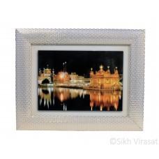 Golden Temple or Harmandir Sahib or Darbar Sahib Amritsar, Colored Photo at night, Wooden White & Gold Designer Frame with Transparent Fiber, Size 6x8