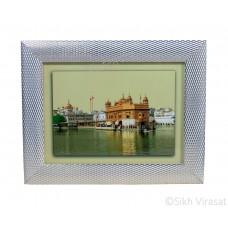 Golden Temple or Harmandir Sahib or Darbar Sahib Amritsar in Daylight, Colored Photo, Wooden White & Gold Designer Frame with Transparent Fiber, Size 6x8