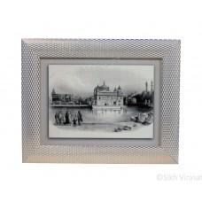 Golden Temple or Harmandir Sahib or Darbar Sahib Amritsar in 1833, Black & White Sketch, Wooden White & Gold Designer Frame with Transparent Fiber, Size 6x8
