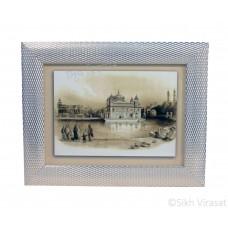 Golden Temple or Harmandir Sahib or Darbar Sahib Amritsar in 1833, Sepia Sketch, Wooden White & Gold Designer Frame with Transparent Fiber, Size 6x8