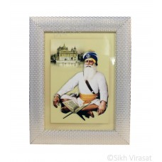 Shahid Baba Deep Singh Ji, Colored Photo, Wooden White & Gold Designer Frame with Transparent Fiber, Size 6x8