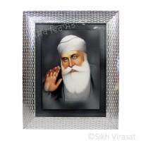Shri Guru Nanak Dev Ji, Colored Photo, Wooden Silver Designer Frame with Transparent Fiber, Size 9x12