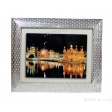 Golden Temple or Darbar Sahib or Harmandir Sahib Amritsar At Night Colored, Wooden Silver Designer Frame with Transparent Fiber, Size 9x12