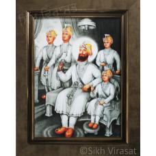 Shri Guru Gobind Singh Ji With Char Sahibzade Black & White Photo Size – 6x8