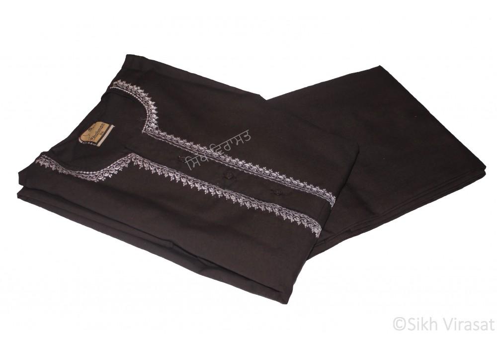 Kurta Pajama Kurta Pajama Naala (Tie- Knot) Pure Cotton Embroidery work kurta Indian Clothing Punjabi Style Ethnic Indian Wear Color Black Size 34 Inches