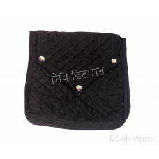 Khajana Or Gutka Sahib Bag with Adjustable Strap and 3 Tich Buttons Color- Black