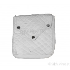 Khajana Or Gutka Sahib Bag with Adjustable Strap and 3 Tich Buttons Color- White