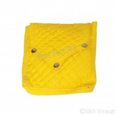 Khajana Or Gutka Sahib Bag with Adjustable Strap and 3 Tich Buttons Color-Yellow