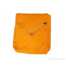 Khajana Or Gutka Sahib Bag with Adjustable Strap and 3 Tich Buttons Color- Orange
