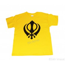 T-Shirt Ultra Cotton Mens Classic - Short Sleeve Standard Jersey Graphic - T-Shirt (Punjabi:Khanda ) Symbol Size Medium Color Yellow White