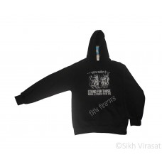 Men's Heavy Fleece Hooded Top Sikh Hoodies Cotton Best Pullover Hoodies Color Black Size Small