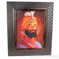 Shri Guru Gobind Singh Ji Colored Photo With Chex Pattern Frame Size – 9x12