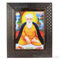 Shri Guru Nanak Dev Ji Nanaksar Colored Photo With Chex Pattern Brown Frame Size – 9x12
