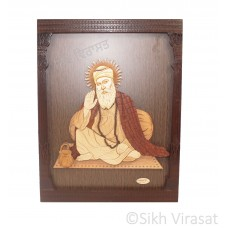 "Guru Nanak Dev Ji Sikh Guru Religious Designer Wooden Picture Photo Framed - 13"" x 11"" Inches"