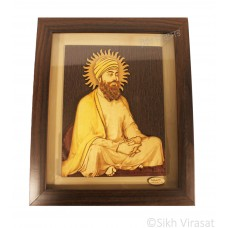 "Guru Tegh Bahadur Sahib Ji Wooden Picture Photo Framed - 13"" x 11"" Inches"