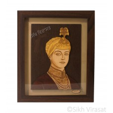 "Guru HarKrishan Sahib Ji Sikh Guru Religious Wooden Picture Photo Framed - 13"" x 11"" Inches"