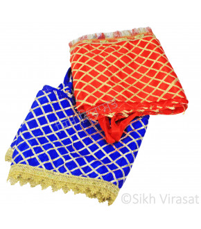 Truck Jhalar\Jhallar with Golden Lace Chex Design with Linen Jhalar Lace