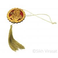 Car Hanging Ik Onkar With Guru Nanak Dev Ji Pattern Color Cream with Red Wooden/Hanging for Car Decor