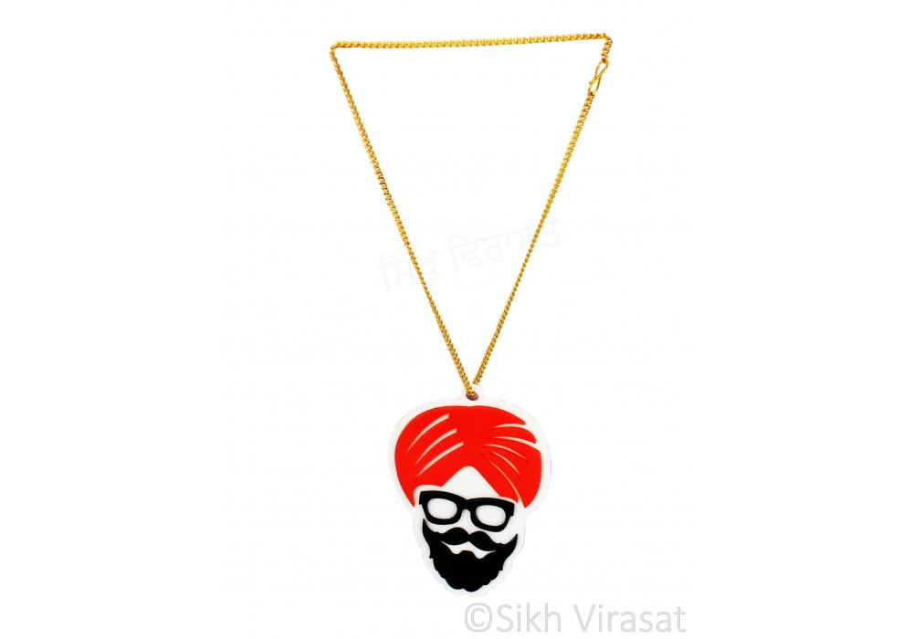 Car/ Truck Hanging Punjab Sikh Khalsa Turban Man Face Cut Out Color Black Orange Acrylic Car Accessories/Hanging For Car Décor