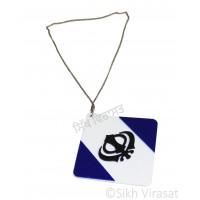 Car Hanging Khanda Symbol Color Blue & White mix Acrylic Square Car Accessories/Hanging For Car Decor