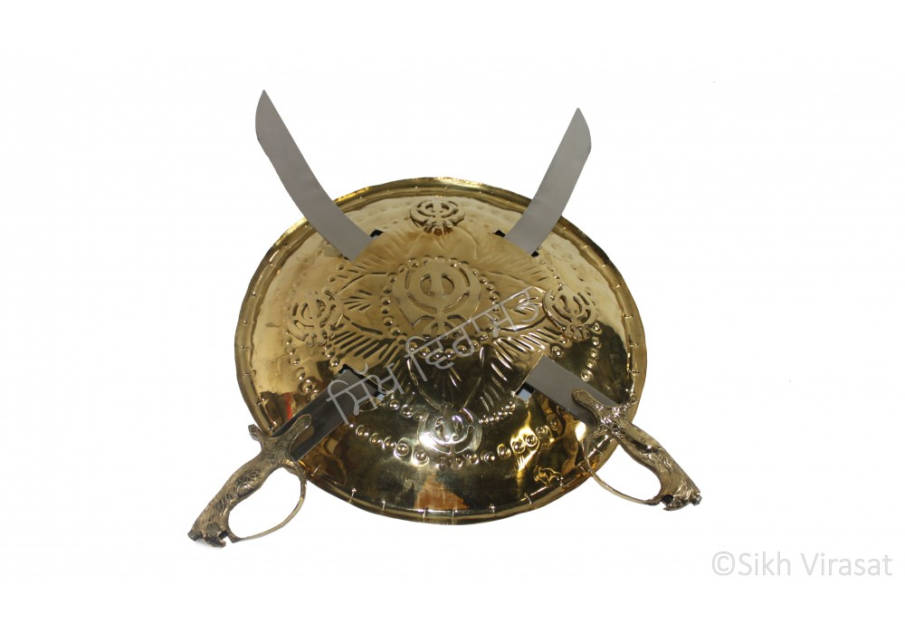 Dhall Gold Steel Or Khanda Or Dhaal Or Dhal Or Shield Or Sikh Accessories Gatka Sports Medium Size 14 inches