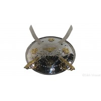 Dhall Silver Steel Or Khanda or Baaz Or Dhaal Or Dhal Or Shield Or Sikh Accessories Gatka Sports Medium Size 14 inches