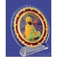 Shri Guru Teg Bahadar Ji Acrylic Round Model Color Transparent Statue-Home Room Office Car Dashboard Accessories Small Size 3 Inches