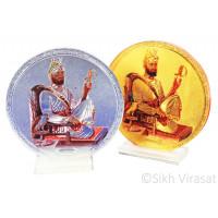 Shri Guru Gobind Singh Ji Acrylic Round Model Color Silver Golden Statue-Home Room Office Car Dashboard Accessories Small Size 3 Inches