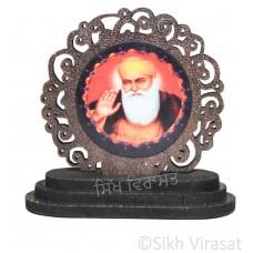 Guru Nanak Dev Ji Wood Designer Border Model Color Brown Statue-Home Room Office Car Dashboard Decor Gift Item Dashboard Accessories Small Size 2.6 Inches