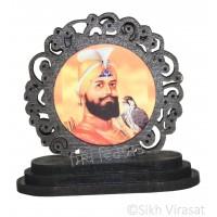 Guru Gobind Singh Ji Designer Border Wood Model Color Brown Statue-Home Room Office Car Dashboard Decor Gift Item Dashboard Accessories Small Size 2.6 Inches